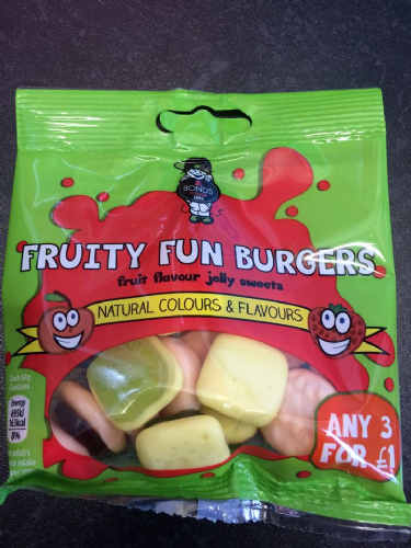 Bonds Fruity Fun Burgers 50g packet